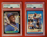 (50) CARD KIRBY PUCKETT INVESTMENT LOT PSA 9 87 FLEER & PSA 7 87 DONRUSS LOOK!