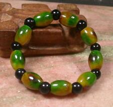 CHINESE Yellow Green JADE Circle Bead Beads Bangle Bracelet 232796