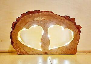 Herz Lampe aus Holz mit LED Beleuchtung Liebe Hochzeit