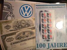 Auto-Lot mit Aktien von VW + Chrysler + GM + Münzblatt 100 Jahre AvD - Rarität !