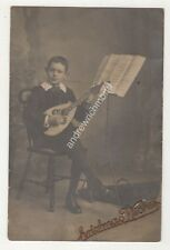 Boy Playing Mandolin Vintage RP Postcard Turner Kettering Music 689b