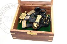 BLACK ANTIQUE NAUTICAL BRASS SEXTANT WITH WOODEN BOX BEAUTIFUL ITEM FOR HOME