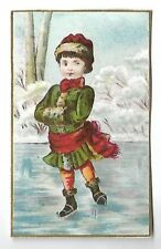 La patineuse Glace Patin Hiver Enfant - Chromo H Laforest Trade Card