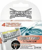 Wilkinson Sword Quattro Titanium Razor Blades Aloe Pack 3, 6, 12 + Contour Blade