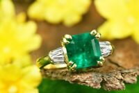 Art Deco 2.55 ct Emerald Green Antique Vintage 925 Sterling Silver Wedding Ring