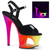 Pleaser MOON-709UV Women's Black Blacklight UV Neon Cut-Out Platform Heel Sandal