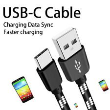 Short 20CM USB-C Type C Strong Fabric Braided Data Charging Cable Cord BLACK.