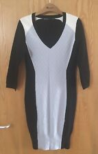 Stunning KAREN MILLEN Black & Grey Viscose Jumper Dress In Size 12