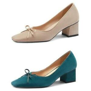 Women Ladies Chunky Heel Square Toe OL Pumps Party Suede Fabric Shoes 41/42/43 L