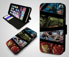 Marvel Superhero Thor Hulk Ironman Captain Leather Wallet Flip Phone Case Cover