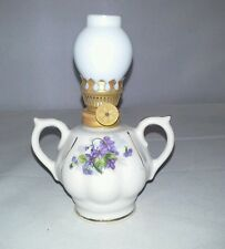 Royal Porzelan Miniature Kerosene Lamp New Old Stock Violets Glass Shade Vintage