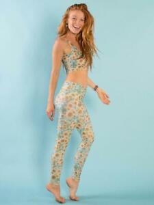 NWT - TEEKI Women's 'SUNRISE HOT PANT' Sunflower YOGA LEGGINGS - L