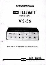 Bedienungsanweisung mit Schema-Anleitung für Klein Hummel Telewatt VS-56