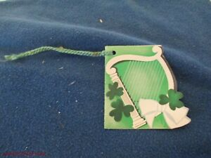 UNUSED VINTAGE BRIDGE TALLY CARD ST PATRICKS DAY SHAMROCKS HARP LYRE USA