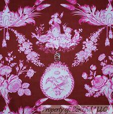 BonEful FABRIC Cotton Quilt Old Toile Brown Pink White Flower Bird Girl FQ SCRAP