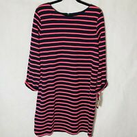 Merona shirt dress long sleeve new with tags pink black stripped crew neck