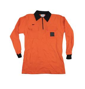 NOS Vintage 80s Mens Large Long Sleeve Referee Soccer Uniform Jersey Orange USA