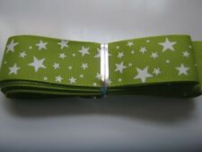 Grosgrain Ribbon - 25mm wide.  GREEN with STARS,  min 2mtr lngth  *NEW*