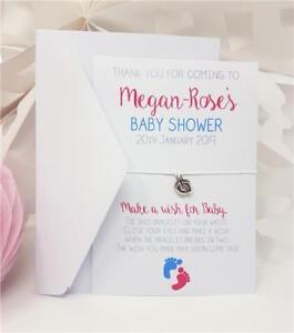 Wishing Bracelet Baby Shower Favour Thank You Personalised Girl/Boy/Unisex Card