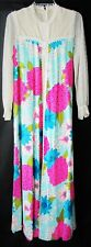 Sz 10 Maxi Dress Vtg 60s Hostess Gown New with Tag Bright Floral Hawaii Back Zip