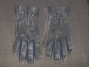 ARIS ISOTONER SLATE BLUE SUEDE LEATHER DRIVING GLOVES WOMENS LARGE XL