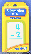 School Zone #04007 SUBTRACTION Flash Cards Children Ages 6+ Numbers 0-12 New