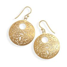 Filigree Flower Butterfly Yellow Gold-plated on Sterling Silver Earrings