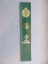 Leather BOOKMARK The Corps of Royal Engineers Army Cap Badge Ubique Green
