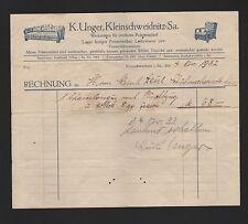 KLEINSCHWEIDNITZ, Rechnung 1932, K. Unger Werkstätten für moderne Polster-Möbel