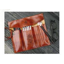 Vintage Retro Roll Leather Make Up Cosmetic Pen Pencil Case Pouch Purse Bag B8BU