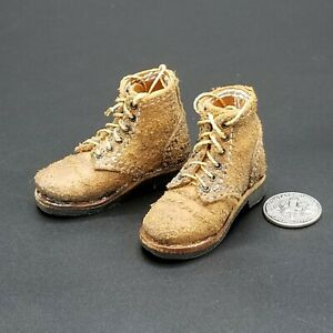 """1:6 Newline Miniatures Leather WWII US Army Roughout Service Shoe Boots 12"""""""