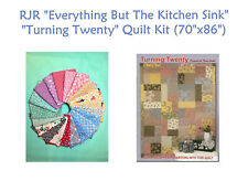 "NEW! TURNING TWENTY Quilt Kit with RJR ""EVERYTHING BUT THE KITCHEN SINK"" Fabrics"
