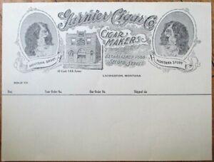 Livingston, MT 1900 Cigar Letterhead: 'Montana Sport' w/Dog - Garnier Cigar Co.