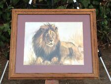 """CAROLE HOSS """"Pride Leader"""" LION GOLD FOIL ART EMBOSSED LITHOGRAPH Signed Framed"""