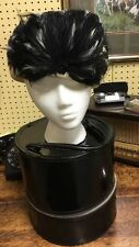 Womens Black Wool Hat with Feathers with Black Vinyl Zippered Hat Box