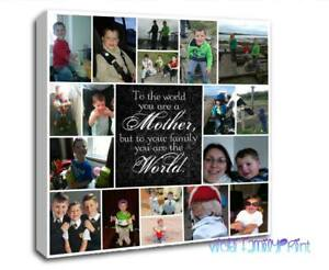 """MOTHERS 20""""x20"""" PERSONALISED COLLAGE CANVAS PHOTO GIFT BIRTHDAY  MUM QUOTE"""