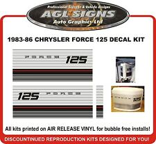 1983 1984 1985 1986  CHRYSLER FORCE 125 hp Outboard decal set  reproduction