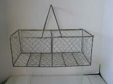 "Primitive Rectangular Chicken Wire Egg Basket Divided 15"" x 8 x 11"""