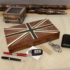 phalgu teca Hombre Organizador Caja diseño de Bandera Británica terciopelo negro