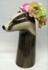 More details for quail ceramic badger head flower vase - wildlife animal ornament model or figure