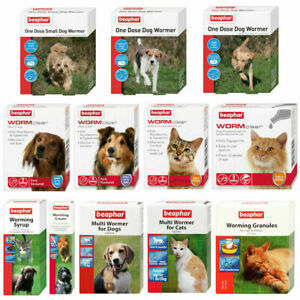Worming Wormer Treatments Beaphar Dogs & Cats Tablets Cream Roundworms Tapeworm