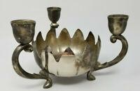 Vintage Metal Silver Color Half Egg Armed Opening Flower 4 Candle Holder