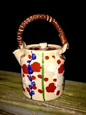 Antique Chinese Teapot Bamboo Handle Floral Pottery Handpainted 6/6 UNIQUE ❤️j8