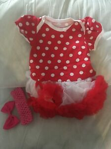 """2pc Tutu Red Polka Dot Outfit 1 Month Baby Size Or 20""""  Reborn Doll Clothes"""