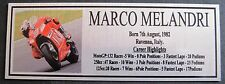 MARCO MELANDRI Sublimated Silver Plaque Free Postage