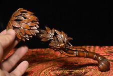 Chinese Folk Boxwood Wood Carving Lucky cicada Bamboo Shapt RuYi Ru Yi Statue
