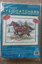 "Needle Treasures - ""Keepin' Up"" - Large Count Cross Stitch Kit - Horses - 05100"
