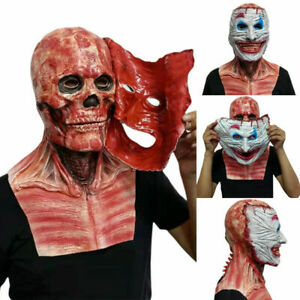 Halloween Bloody Skull Clown Mask Moveable Mouth Joker Double Layer Face Mask