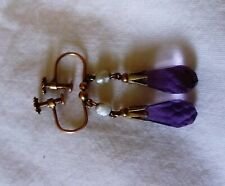 Edwardian 9ct Gold Bricolette Amethyst Seed Pearl drop Earrings