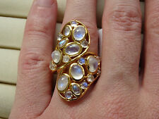 Big 8.5Cts Rainbow Moonstone Raindrops Designer 14K Y Gold/925 Ring Size O
